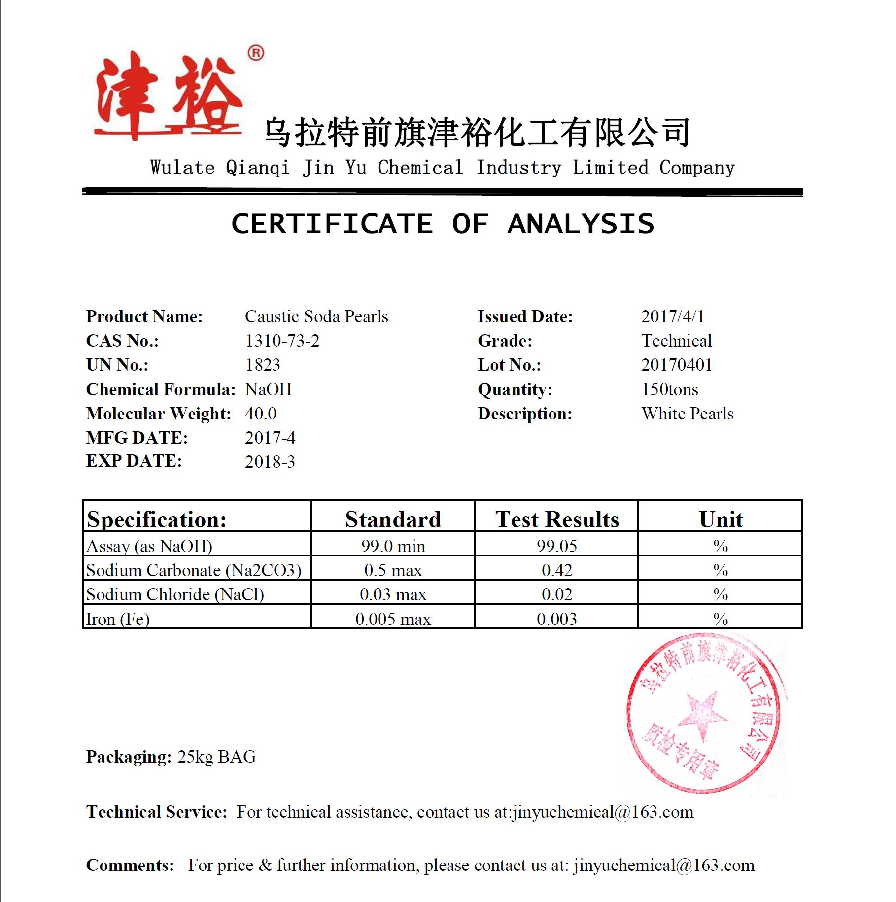 99% Caustic Soda Pearls - Test Certification