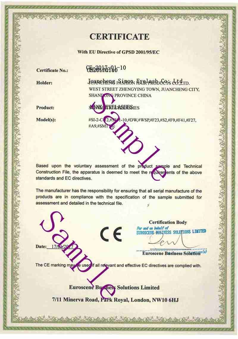 100% Mink eyelashes extensions CE Certificate