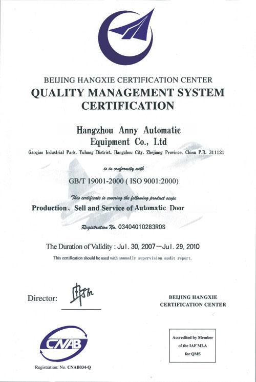 ISO 9001-2000 Arroval