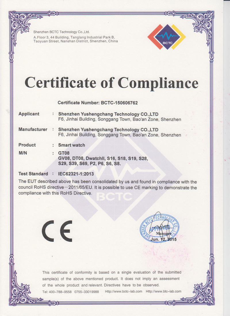 Smart Watch Phone RoHS certificate