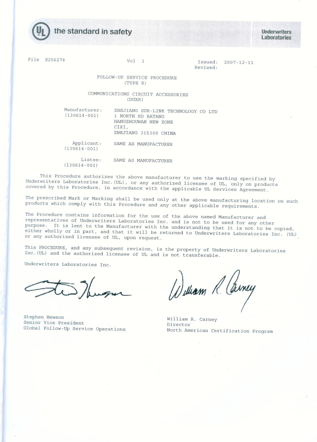 Certificate of UL