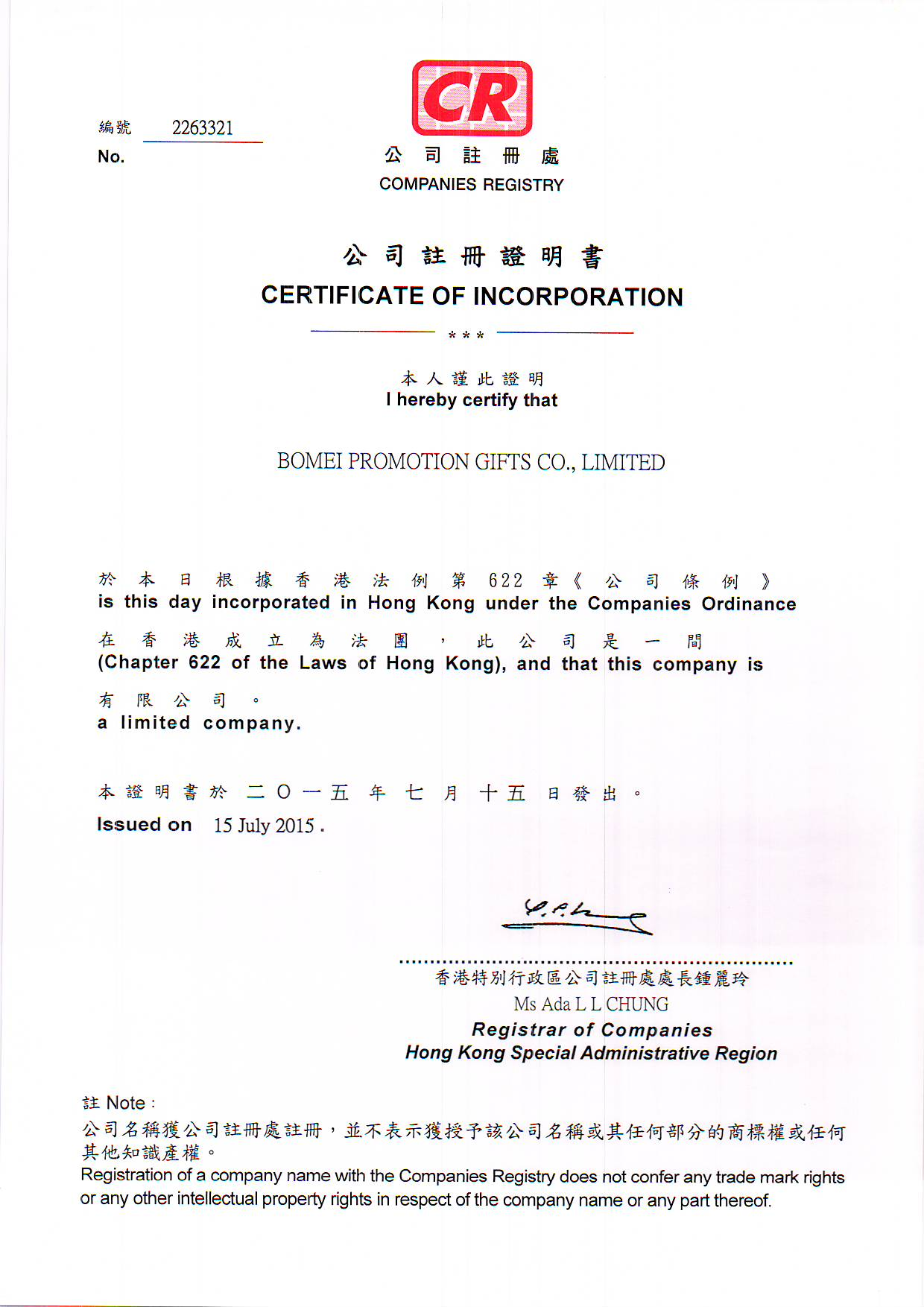 BUSINESS REGIESTER CERTIFICATE
