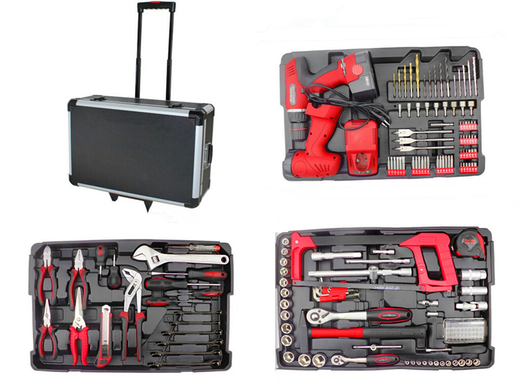 206Pcs Trolley alumium case tool kit