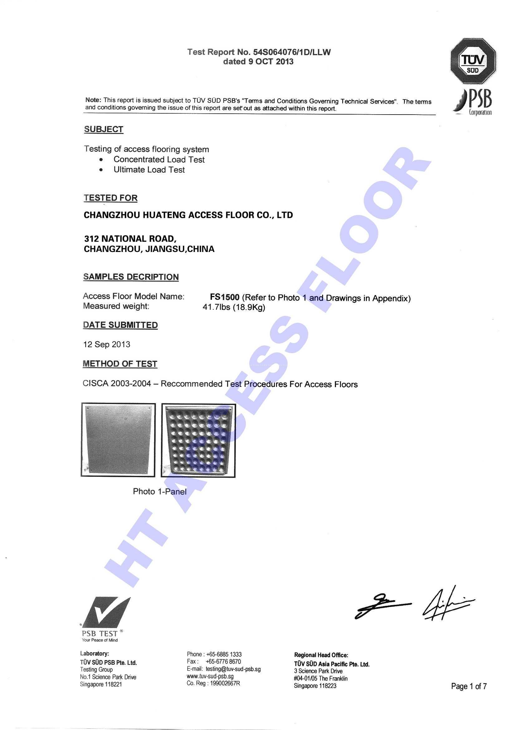 PSB TEST of Raised Access Floor System