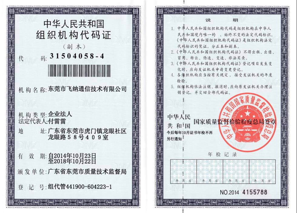 Organization code certificate