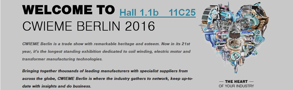 Welcome to visit our booth in CWIEME Berlin 2016