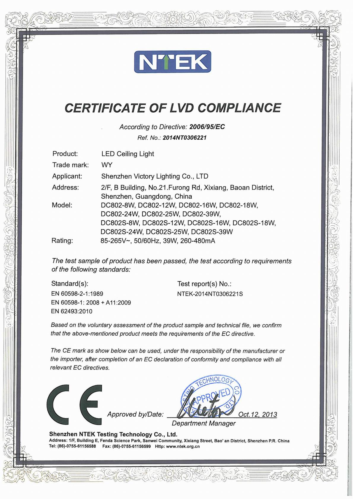 LED CEILING LIGHT LVD CERTIFICATION