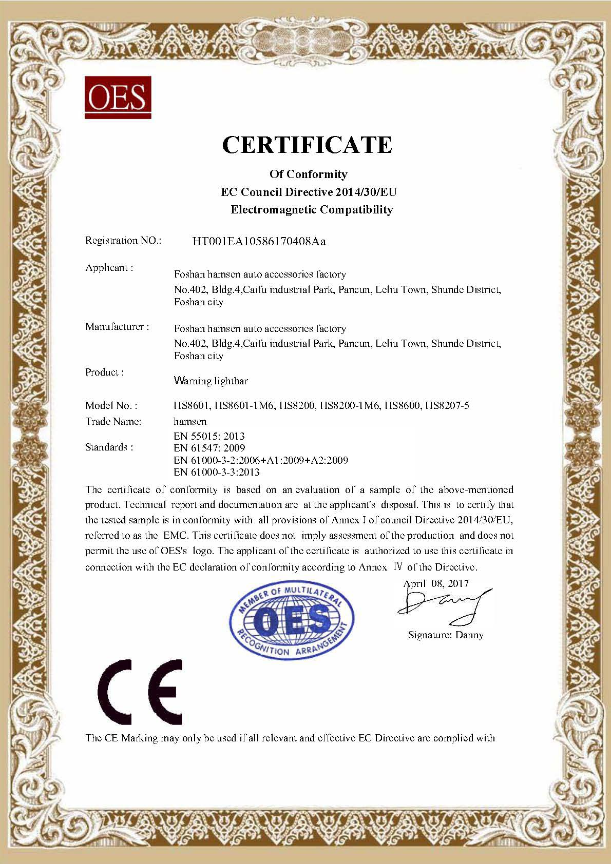 CE Certificate for Warning lightbar