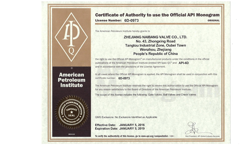 API 6D Certificate 2016
