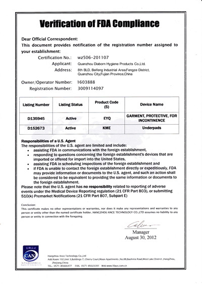 FDA CERTIFICATE-underpad