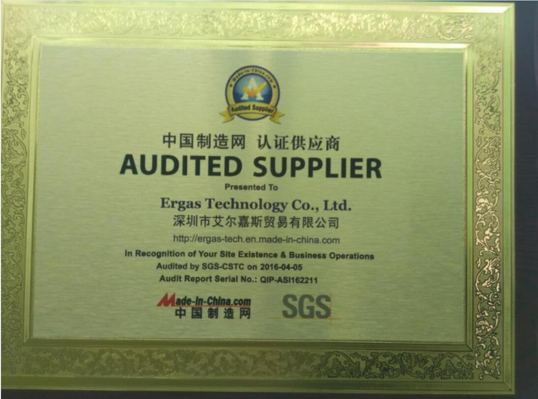 Audited supplier certificate by SGS