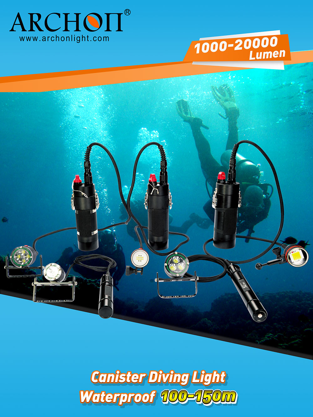 Archon Canister Diving Lights