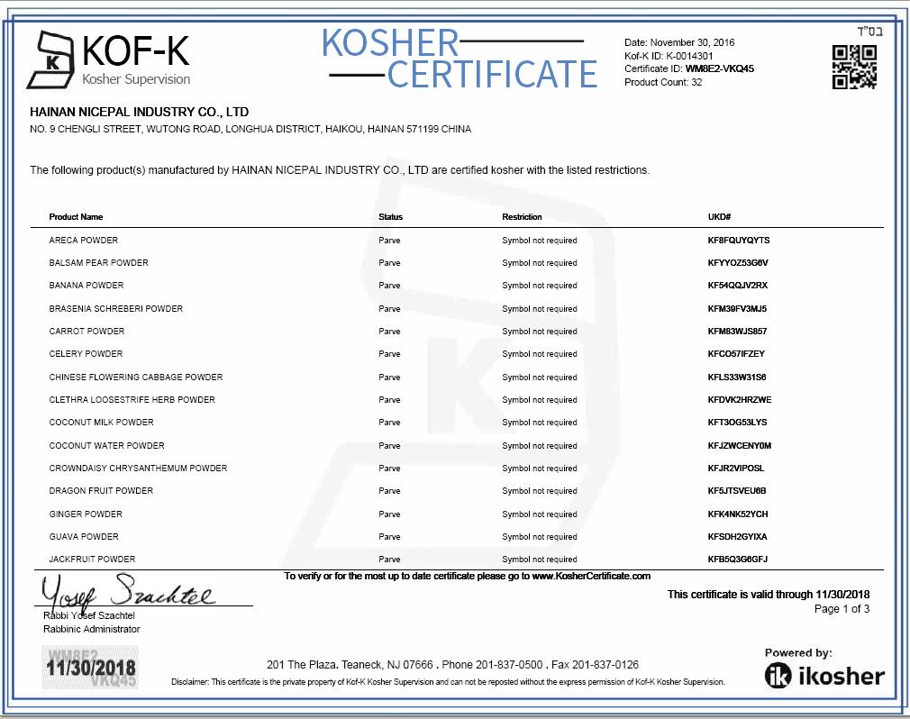 Kosher Certificate 01
