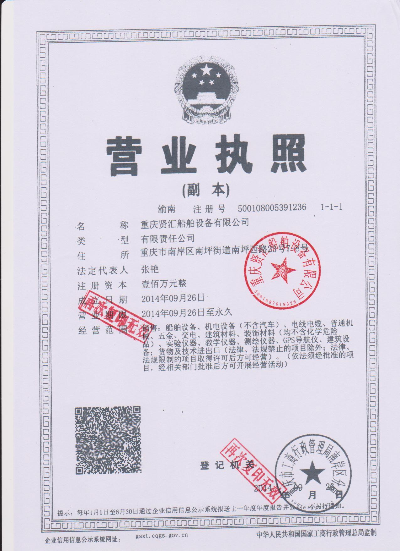 Chongqing Gathering Marine Equipment Co., Ltd License