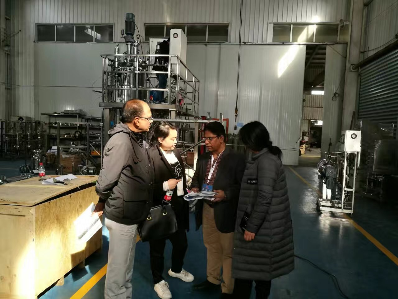 India customer visit 1000L stainless steel fermenter and solid fermenter