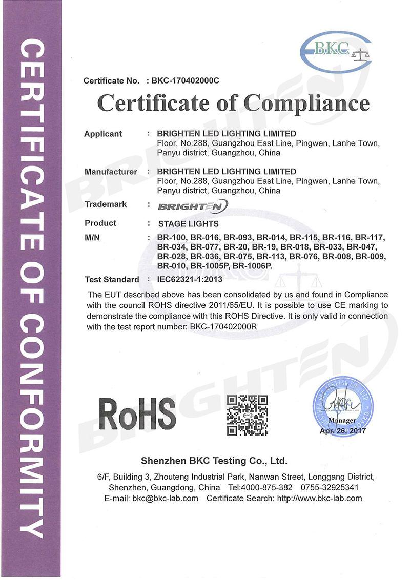 Rohs Certificate of Par Light