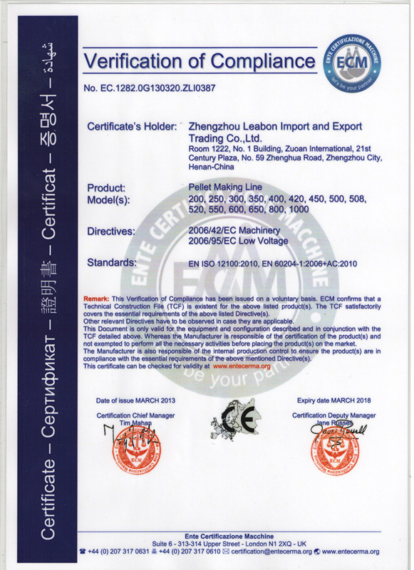 CE Certificate of Pellet Making Line
