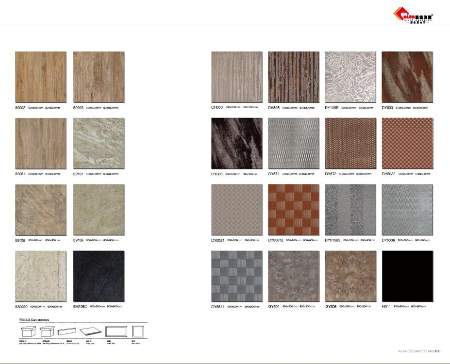 Porcelain matt glazed tiles