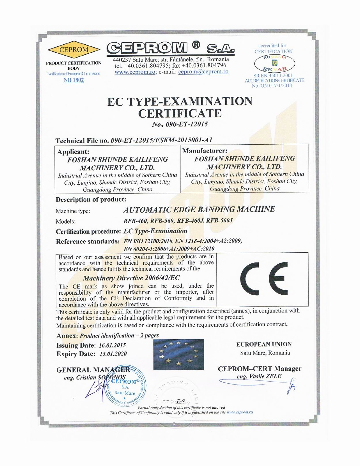 CE certificate for Automatic Edge Banding Machine