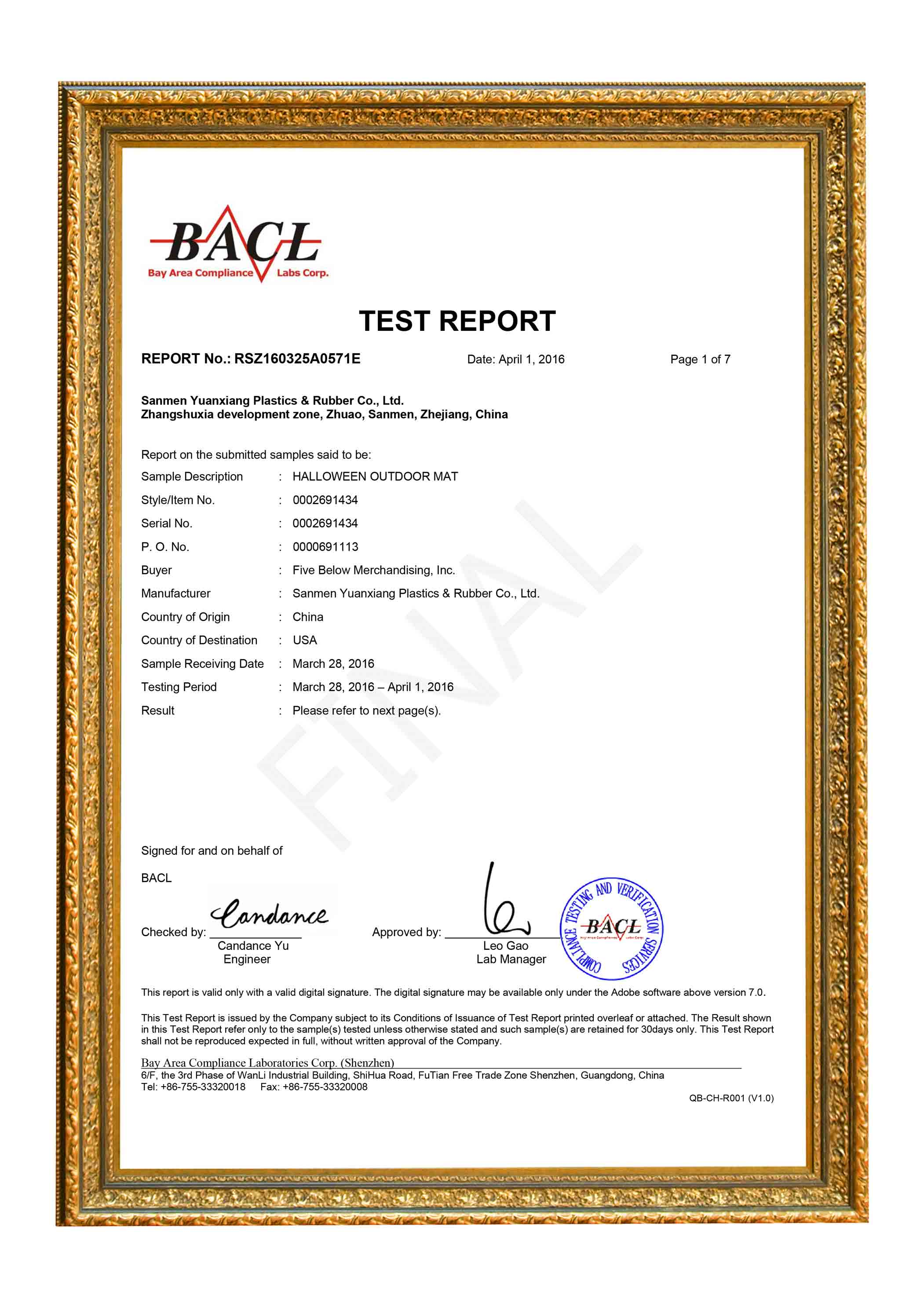 TEST REPORT BY BACL