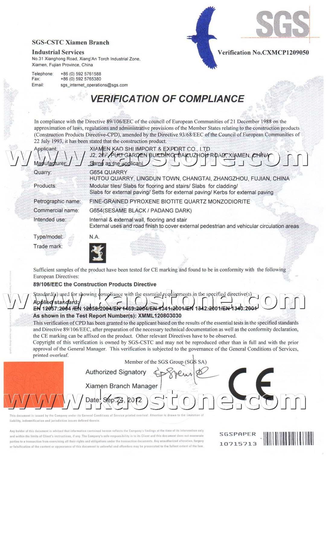 G654 CE Certificate