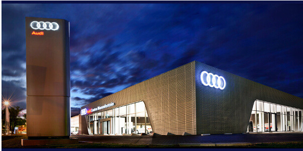Audi service center in Dubai with strip Ceiling and clip in ceiling