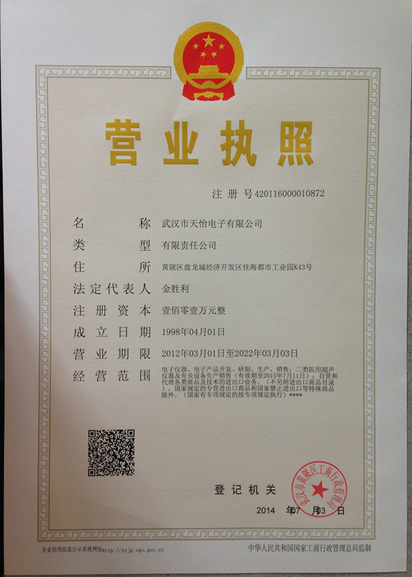 Tianyi business license