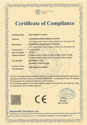 CE Certificate of led flood light