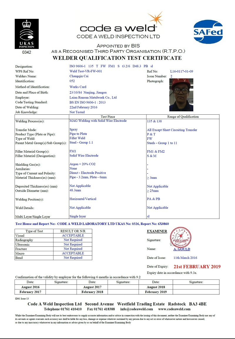 welder qualification test certificate
