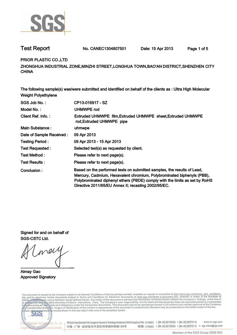 SGS Certificate for UHMW PE