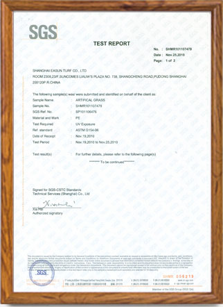 Anti UV test Report - Shanghai Easun Turf