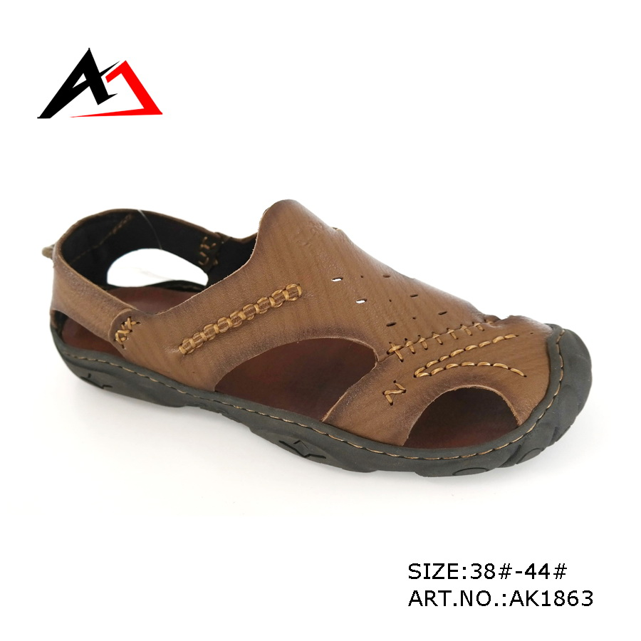 Leather Sandal Shoes Fashion Cheap Slippers for Men