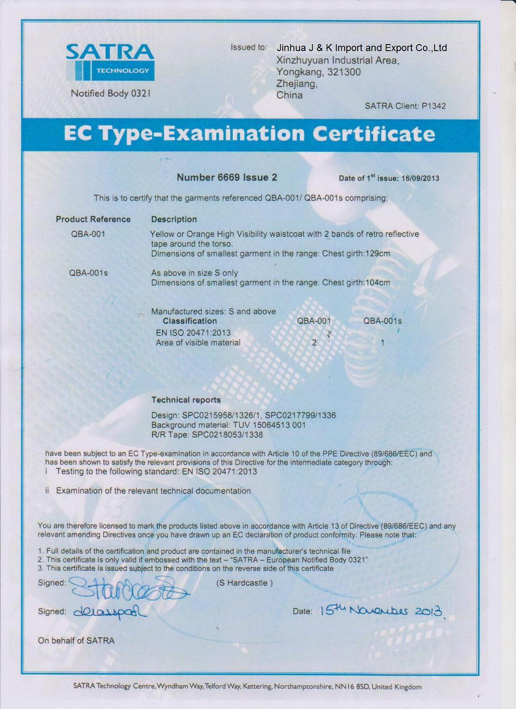 EN ISO 20471:2013 for Safety Vest