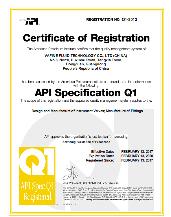 API Q1 Certification