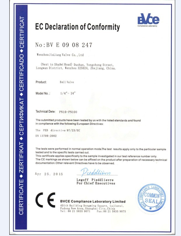 CE ball valve