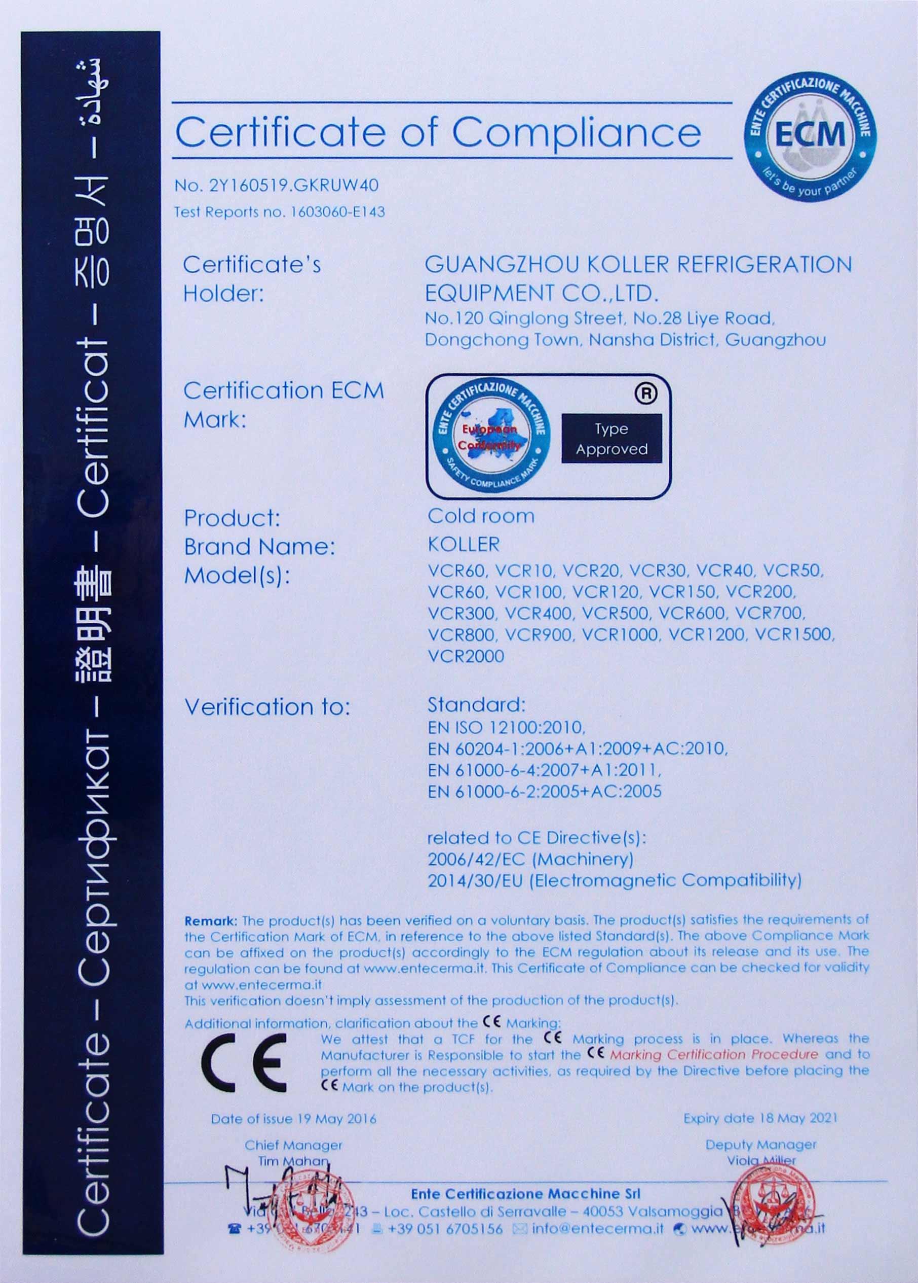Koller CE Certificate 2