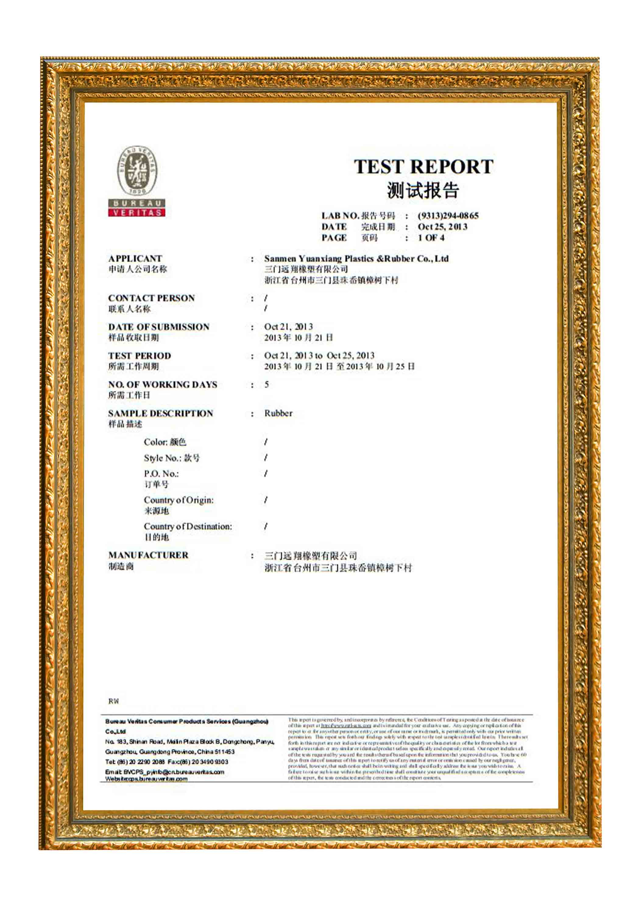 TEST REPORT by BV