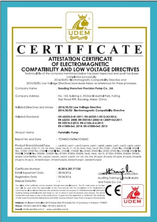 CE certificate for peristaltic pumps