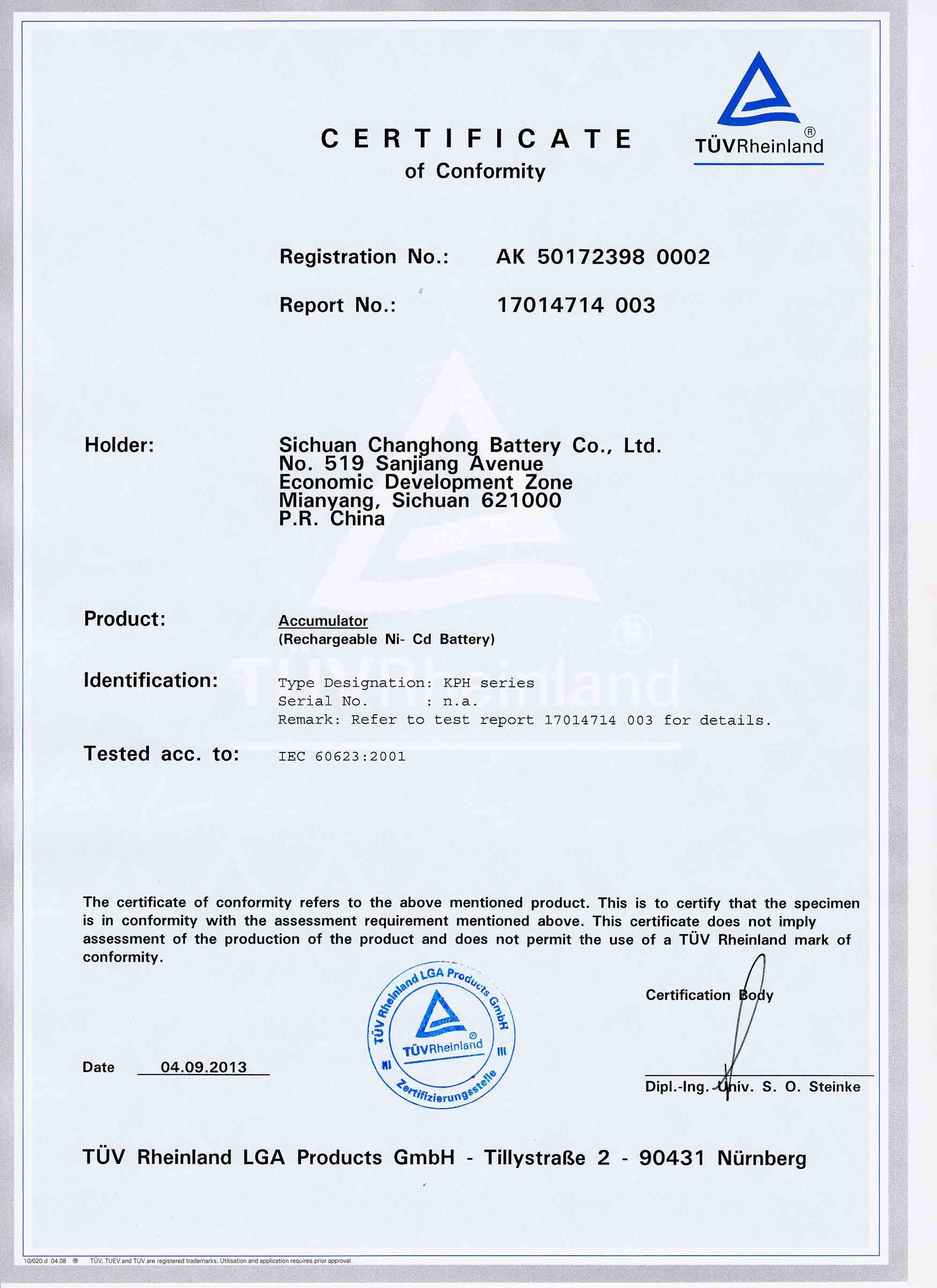 IEC 60623 for KPH series