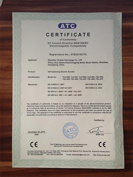 CE certificate of self-balancing electric scooter