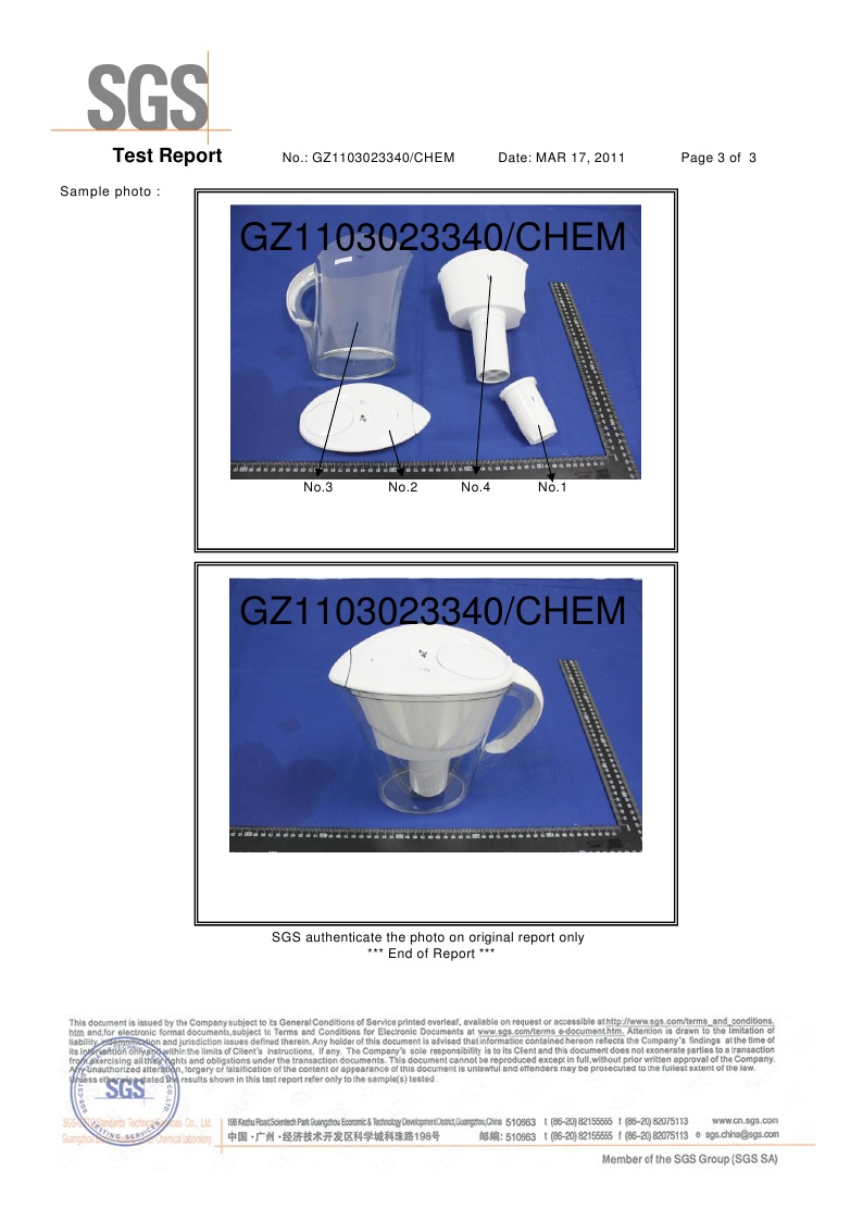 Alkaline Water Pitcher SGS Certificate page 3