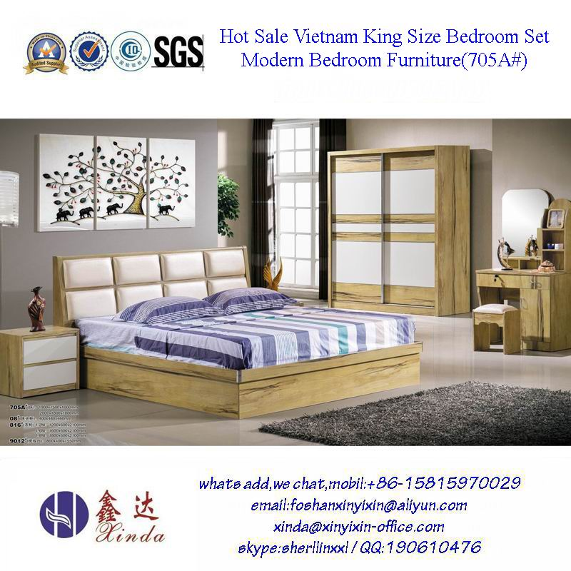 Best Selling Vietnam Modern Kingsize Bed Bedroom Furniture