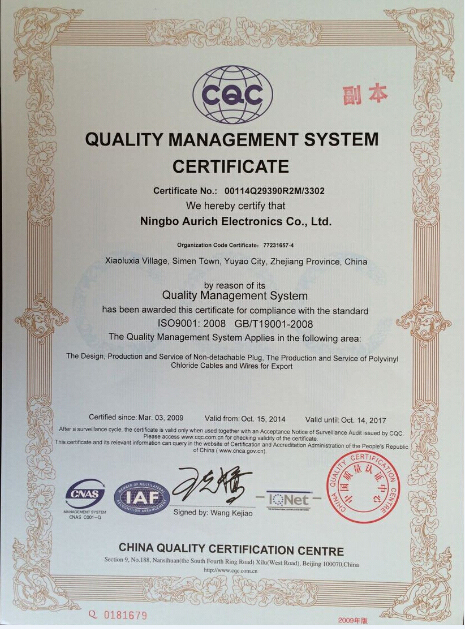 CQC Quality management system certification