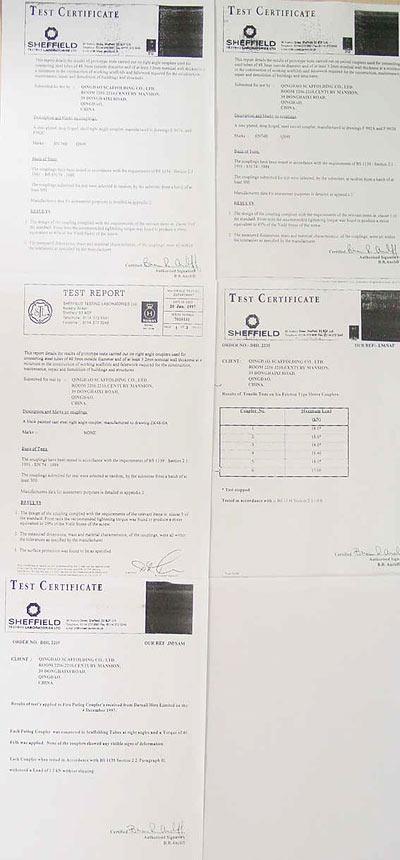 BS1139 & EN74 class A & B Certificates