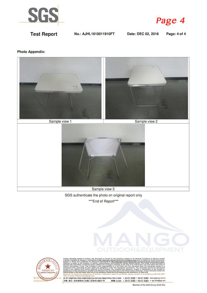 MW12020 folding table EN581 test report