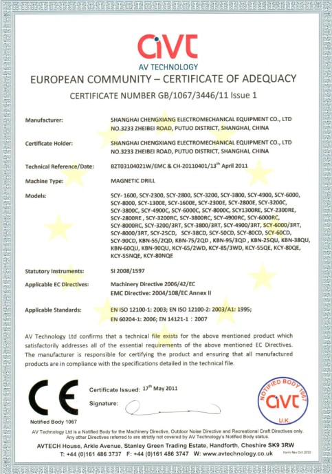 Magnetic drill CE certificate