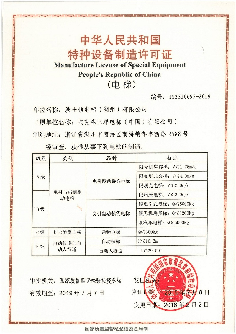 Manufacturer License of Special Equipment People's Republic of China