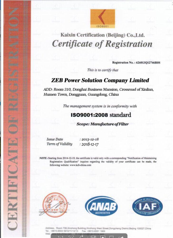 ISO Certificate for ZEB Power Filters
