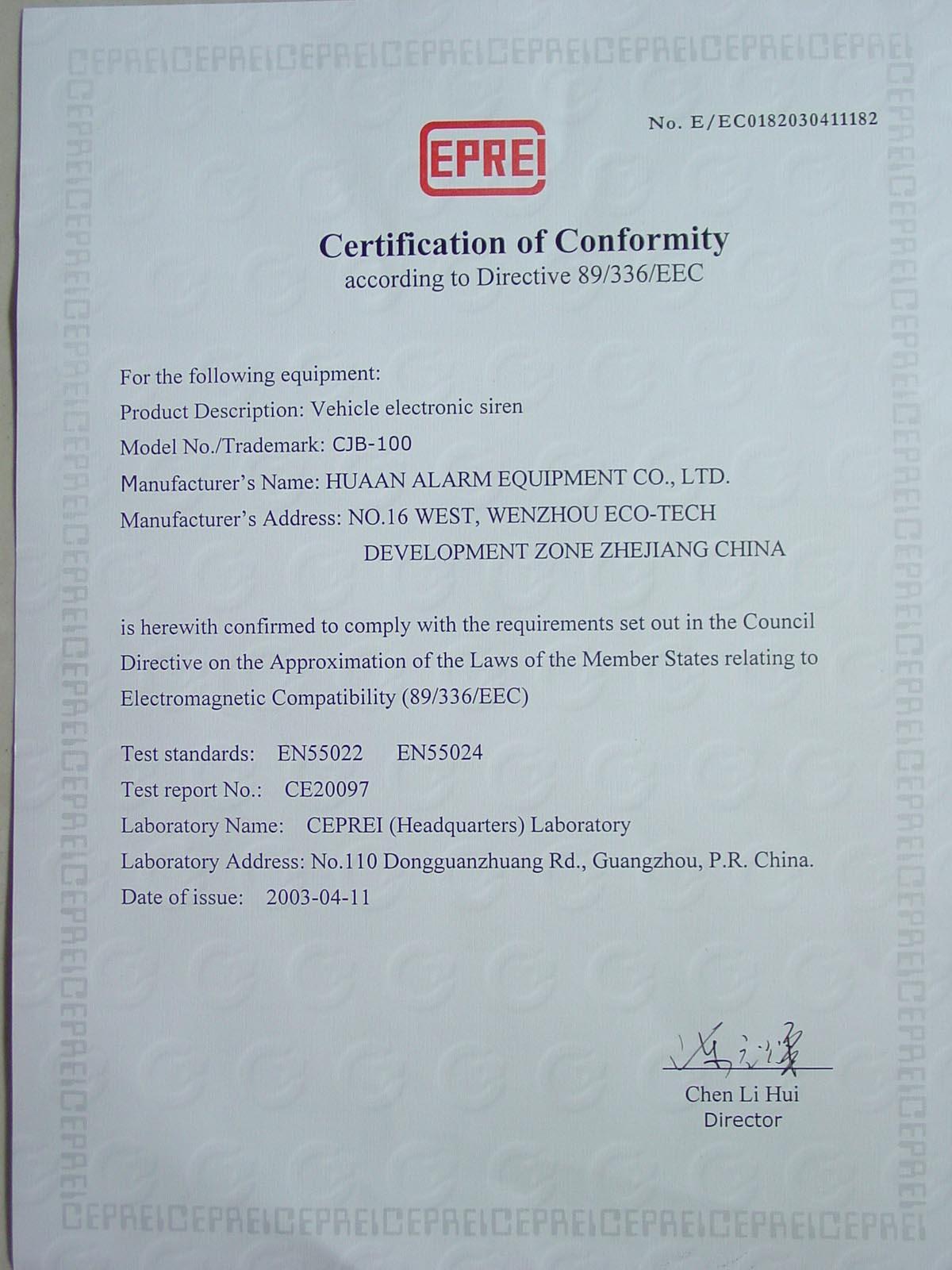 Siren CE certificate