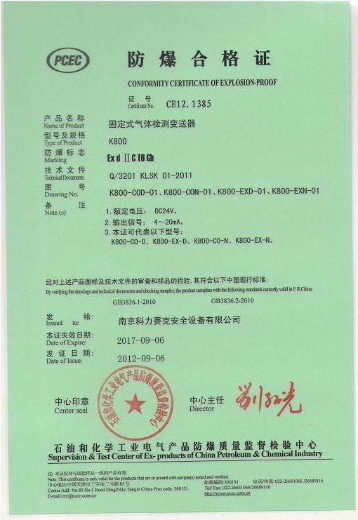 K800 fixed gas transmitter explosion proof certificate